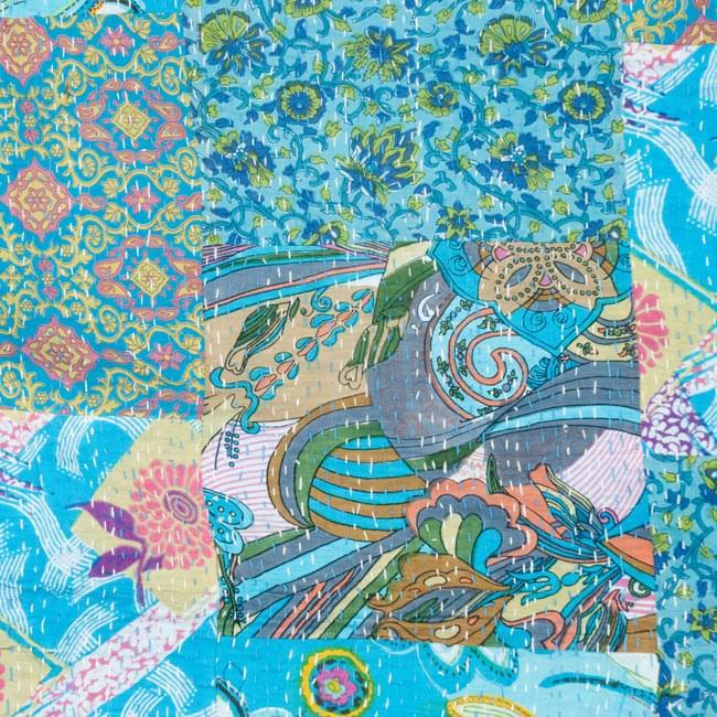 【インドのパッチワーク】ラリーキルトの大判マルチクロス【約230cm×約150cm】の写真4 - 別の部分の拡大写真です。