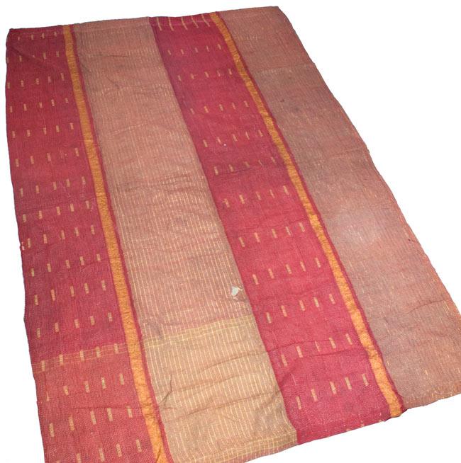 【インドのパッチワーク】ラリーキルトの大判マルチクロス【約160cm×約230cm】の写真8 - 裏面はこのようになっております。