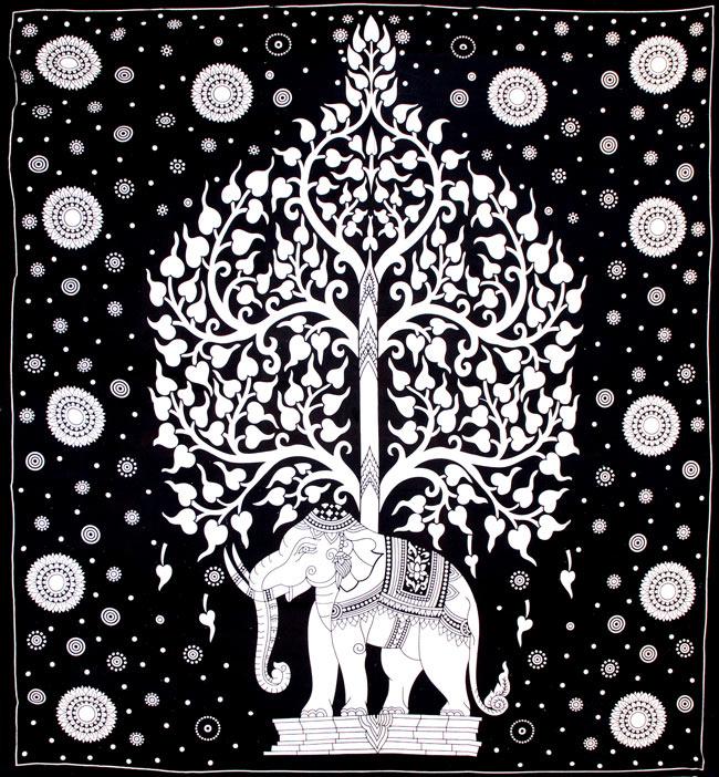 マルチクロス - 象と生命の木【約205cm×約230cm】の写真