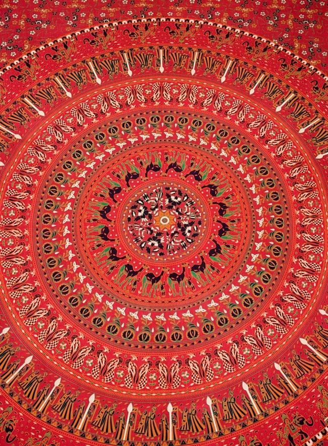 マルチクロス - 円形 花柄【約200cm×約220cm】 2 - 中心部分の拡大写真です。とても迫力があるデザインです。
