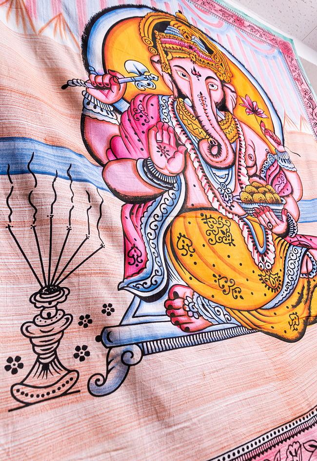 マルチクロス - ガネーシャ シヴァ神 ブッダ【約205cm×約215cm】の写真9 - 【選択C】ガネーシャはこのような雰囲気になります