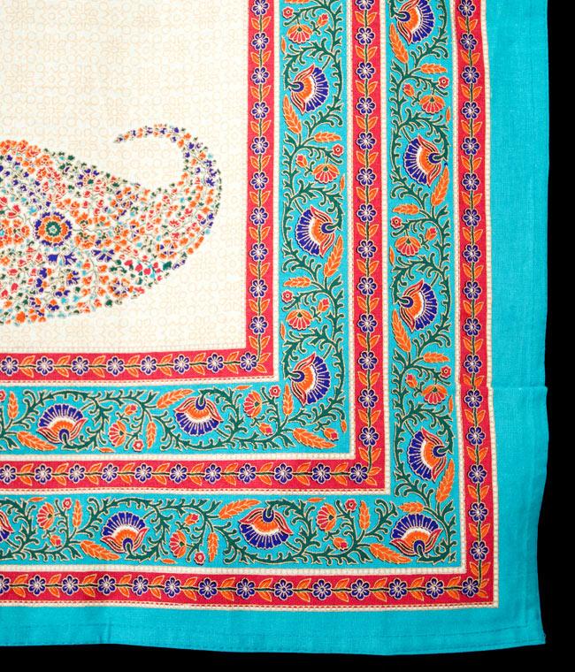 マルチクロス - インド綿の金色模様付き ペイズリー柄【約225cm×約150cm】の写真3 - 縁部分の写真です