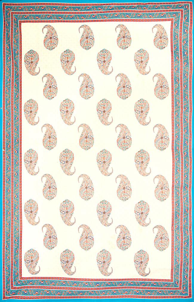 マルチクロス - インド綿の金色模様付き ペイズリー柄【約225cm×約150cm】の写真