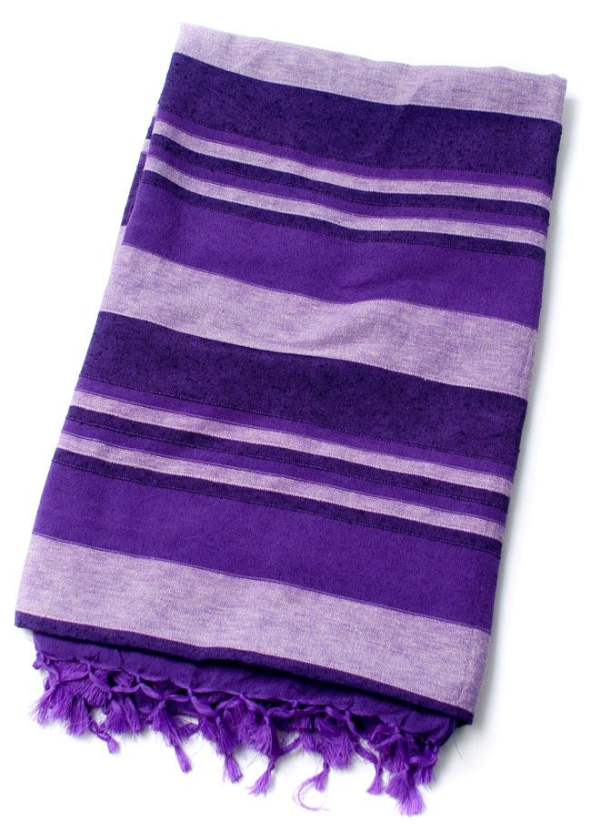 〔235cm×150cm〕カディコットン風マルチクロス - ストライプ柄 紫 2 - 折りたたむとこのくらいの大きさになります