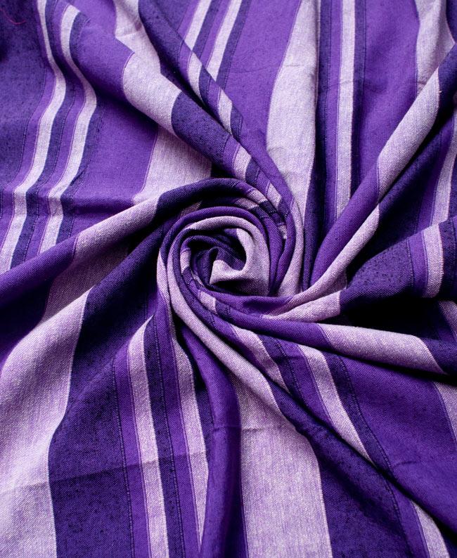 〔235cm×150cm〕カディコットン風マルチクロス - ストライプ柄 紫 3 - インド現地でつくられています。どこか素朴さを感じる素敵な生地です。