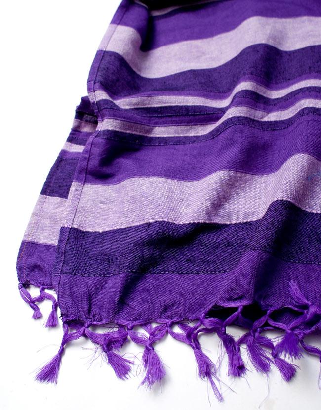 〔235cm×150cm〕カディコットン風マルチクロス - ストライプ柄 紫 4 - 縁の部分の拡大写真です