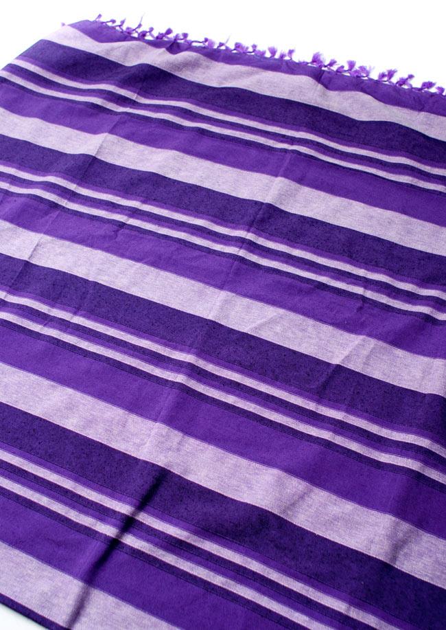 〔235cm×150cm〕カディコットン風マルチクロス - ストライプ柄 紫の写真