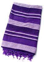 〔235cm×150cm〕カディコットン風マルチクロス - ストライプ柄 紫