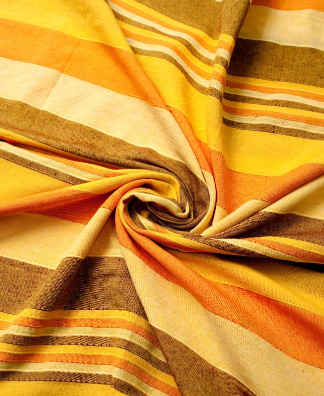 〔235cm×150cm〕カディコットン風マルチクロス - ストライプ柄 イエロー 3 - インド現地でつくられています。どこか素朴さを感じる素敵な生地です。