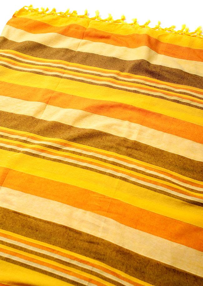 〔235cm×150cm〕カディコットン風マルチクロス - ストライプ柄 イエローの写真