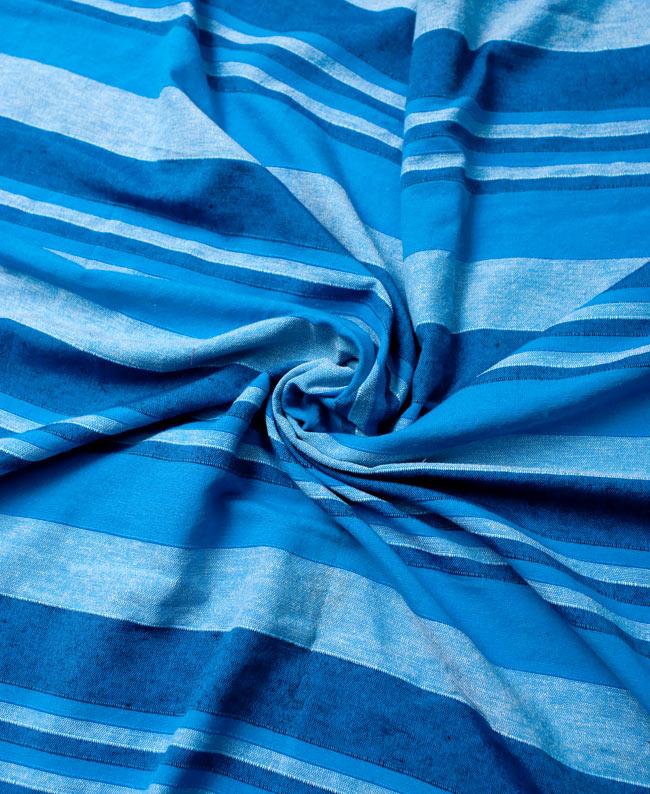 〔235cm×150cm〕カディコットン風マルチクロス - ストライプ柄 水色の写真3 - インド現地でつくられています。どこか素朴さを感じる素敵な生地です。