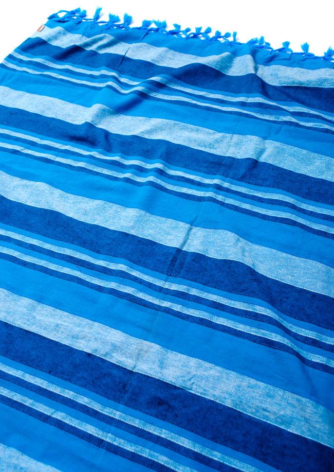 〔235cm×150cm〕カディコットン風マルチクロス - ストライプ柄 水色の写真