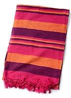 〔235cm×150cm〕カディコットン風マルチクロス - ストライプ柄 ピンク×オレンジ×赤紫