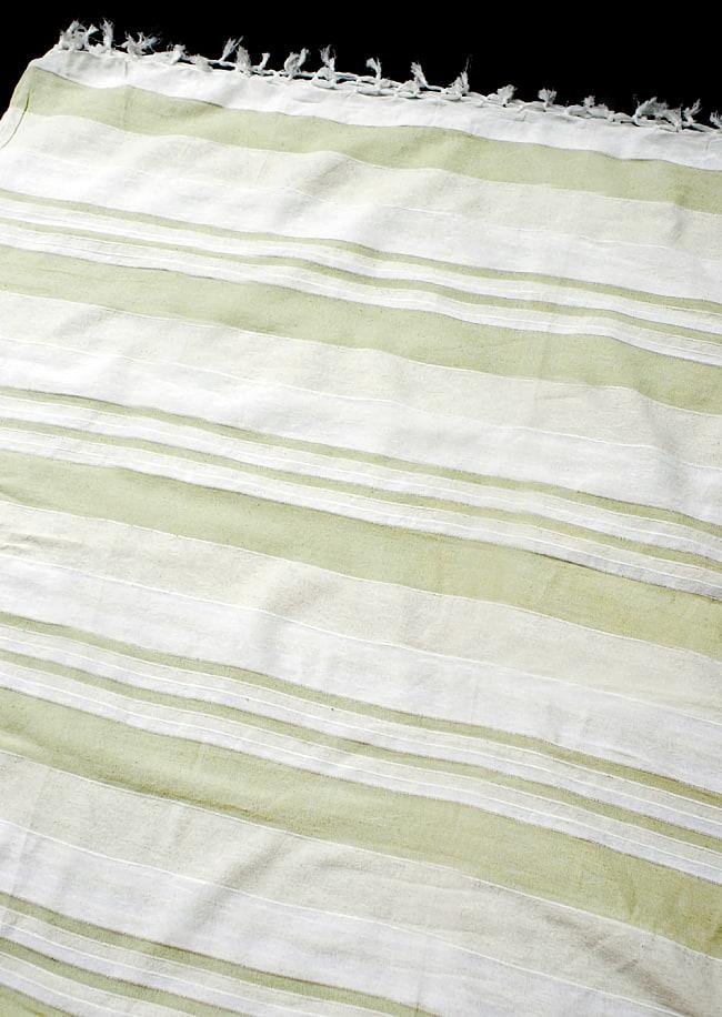 〔235cm×150cm〕カディコットン風マルチクロス - ストライプ柄 白×薄緑の写真