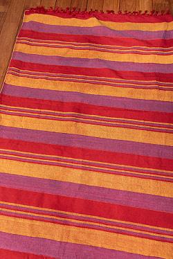 〔260cm×215cm〕カディコットン風マルチクロス - ストライプ柄 赤×オレンジ