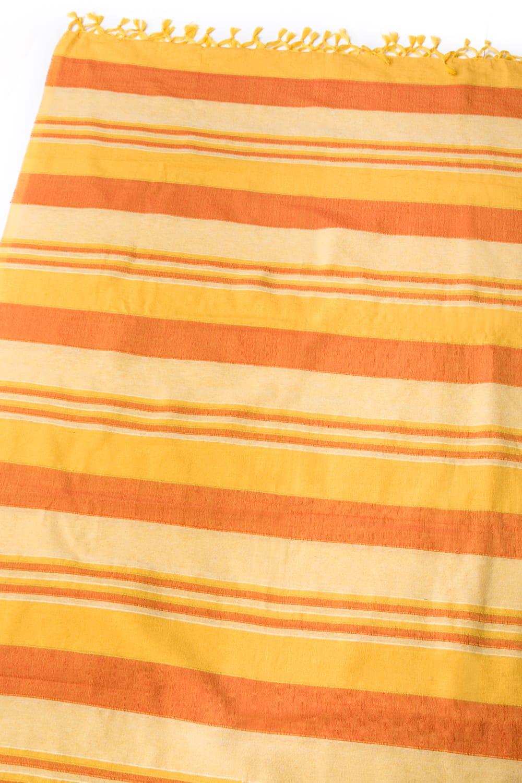 〔260cm×215cm〕カディコットン風マルチクロス - ストライプ柄 イエローの写真