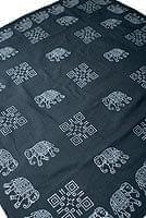 〔約110cm×110cm〕ウッドブロックのスクエア型テーブルクロス - 濃鼠 象さん柄