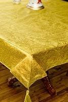 〔約105cm×105cm〕インドの金糸入りテーブルカバー オリーブ