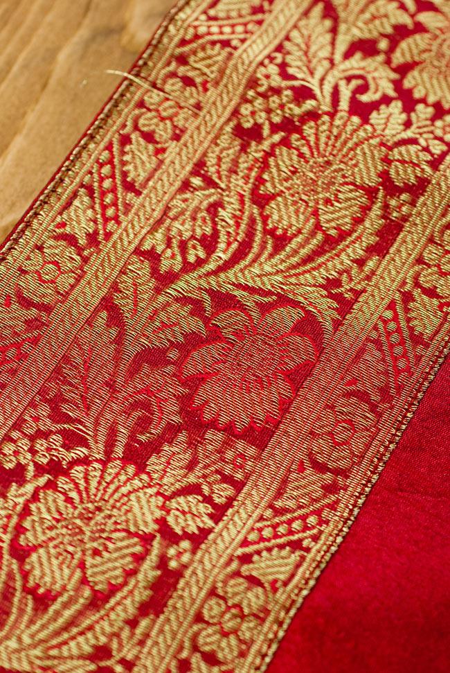 〔約140cm×50cm〕インドの金糸入りテーブルランナー レッドの写真3 - 縁の部分の装飾が美しいです。