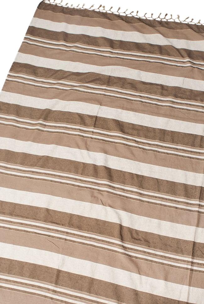 〔260cm×215cm〕カディコットン風マルチクロス - ストライプ柄 ライトブラウンの写真