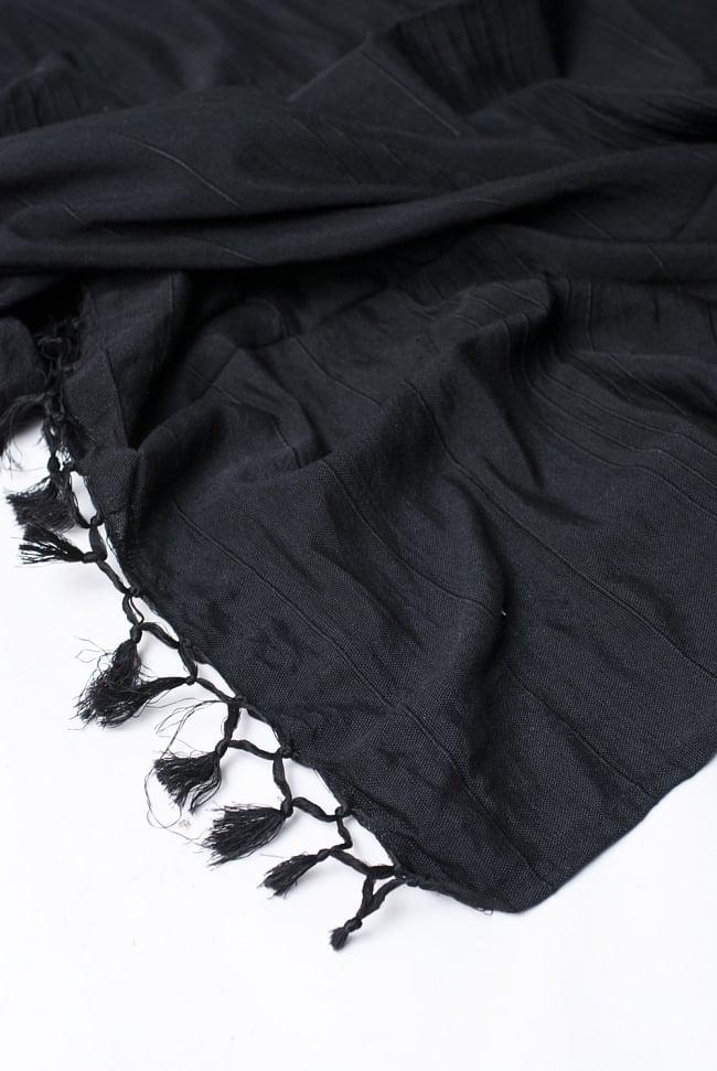 〔235cm×150cm〕カディコットン風マルチクロス - モノカラー 黒 4 - 縁の部分の拡大写真です