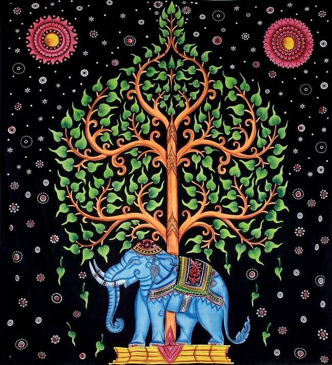 マルチクロス - 象と生命の樹【約220cm×約205cm】の写真