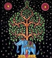 マルチクロス - 象と生命の樹【約220cm×約205cm】