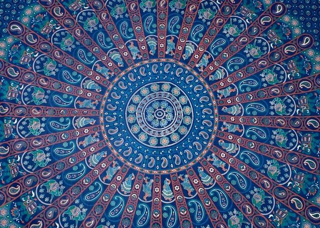 マルチクロス - マンダラ【約225cm×約205cm】 2 - 中心部分の拡大写真です。とても迫力があるデザインです。