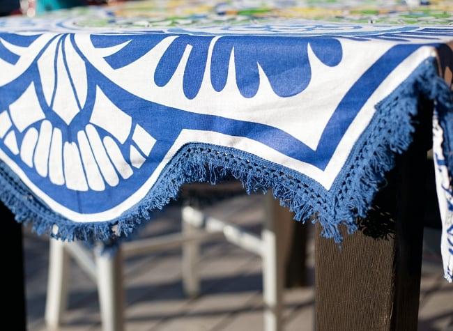 マンダラ柄ラウンドブランケット レジャーシート&ソファーカバー・テーブルクロス【約170cm】の写真4 - 縁の写真です