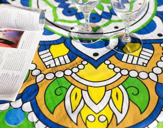マンダラ柄ラウンドブランケット レジャーシート&ソファーカバー・テーブルクロス【約170cm】の写真5 - 拡大写真です
