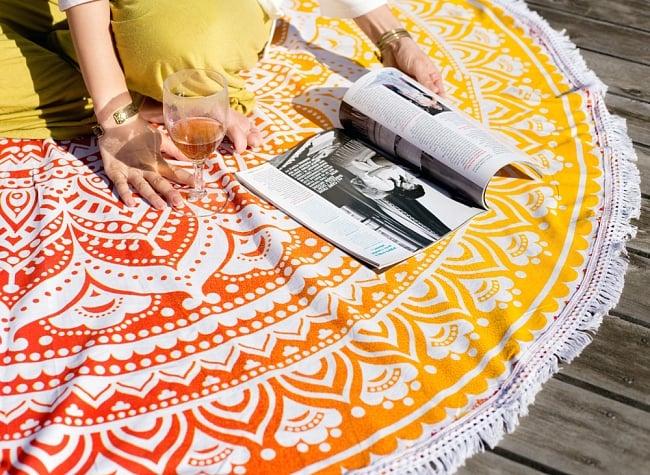 マンダラ柄ラウンドブランケット レジャーシート&ソファーカバー・テーブルクロス【約170cm】の写真5 - ピクニックや読書などへ!リラックス空間が広がります