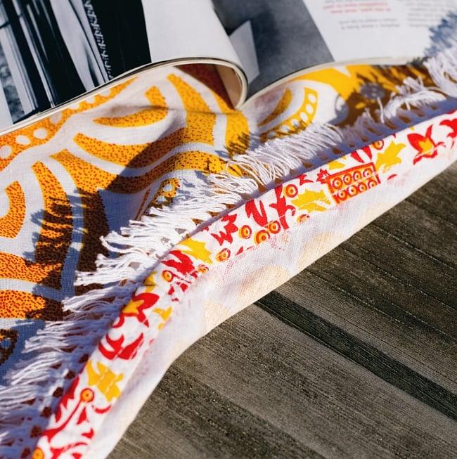 マンダラ柄ラウンドブランケット レジャーシート&ソファーカバー・テーブルクロス【約170cm】 6 - フリンジの拡大写真です