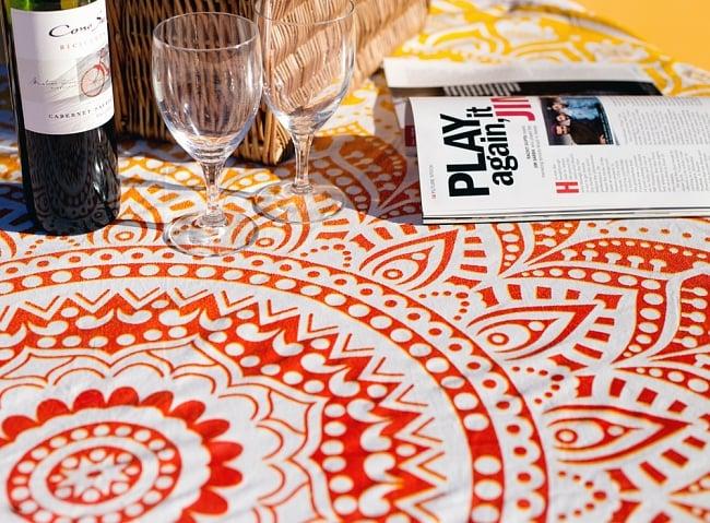 マンダラ柄ラウンドブランケット レジャーシート&ソファーカバー・テーブルクロス【約170cm】 9 - 拡大写真です