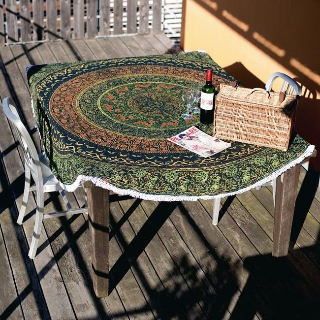マンダラ柄ラウンドブランケット レジャーシート&ソファーカバー・テーブルクロス【約185cm】 6 - テーブルクロスとしても素敵です