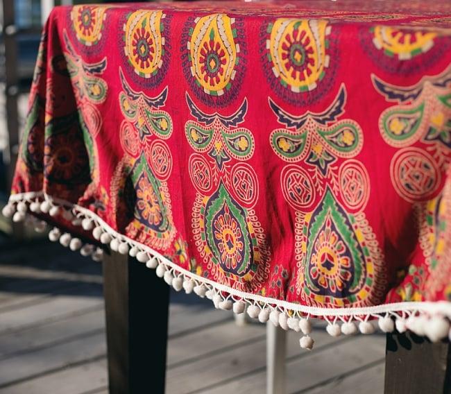マンダラ柄ラウンドブランケット レジャーシート&ソファーカバー・テーブルクロス【約180cm】 4 - とても雰囲気がでます