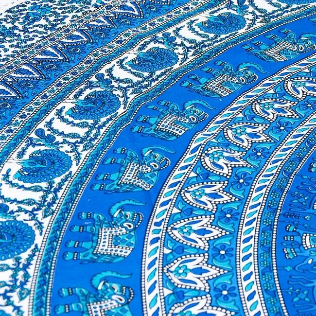 マンダラ柄ラウンドブランケット レジャーシート&ソファーカバー・テーブルクロス【約190cm】の写真3 - 拡大写真です。象と孔雀が描かれています。