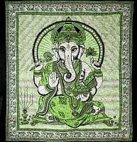インドとアジアの布のセール品:[日替わりセール品]マルチクロス - ガネーシャ【約225cm×約220cm】