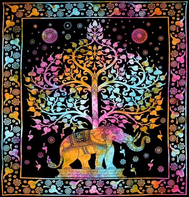 マルチクロス - 生命の木と象【約217cm×約206cm】の写真