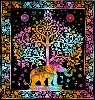マルチクロス - 生命の木と象【約214cm×約206cm】