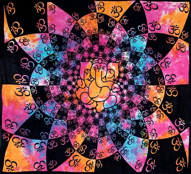 マルチクロス - ホーリーカラーのオーン ガネーシャ【約208cm×約220cm】の写真