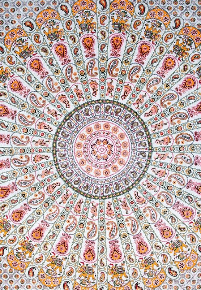 マルチクロス - マンダラ【約224cm×約196cm】の写真2 - 中心部分の拡大写真です。とても迫力があるデザインです。