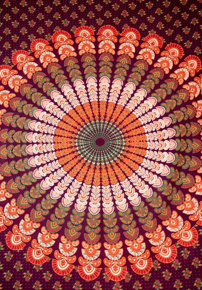 マルチクロス - マンダラ【約220cm×約145cm】 2 - 中心部分の拡大写真です。とても迫力があるデザインです。