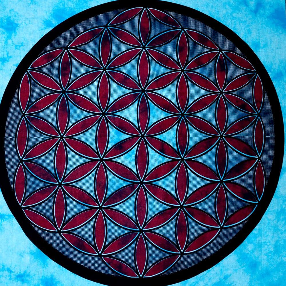 マルチクロス - 生命の花 フラワー・オブ・ライフ【約226cm×約210cm】 2 - 中心部分の拡大写真です。とても迫力があるデザインです。