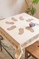 [約100cm x 約100cm]木版染め インド綿テーブルクロス  - 生成りペイズリー