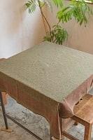 [約106cm x 約110cm]木版染め インド綿テーブルクロス  - 小花柄