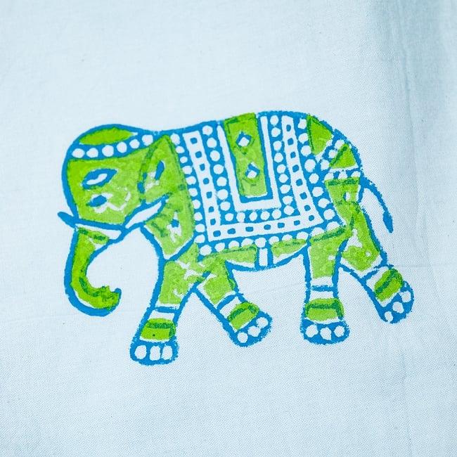 [約110cm x 約104cm]木版染め インド綿テーブルクロス  - 象さん 水色 5 - 手作りの木版を使用しているので、微妙なかすれなどが雰囲気を出しています