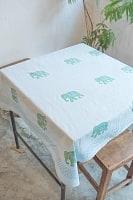 [約110cm x 約104cm]木版染め インド綿テーブルクロス  - 象さん 水色の商品写真