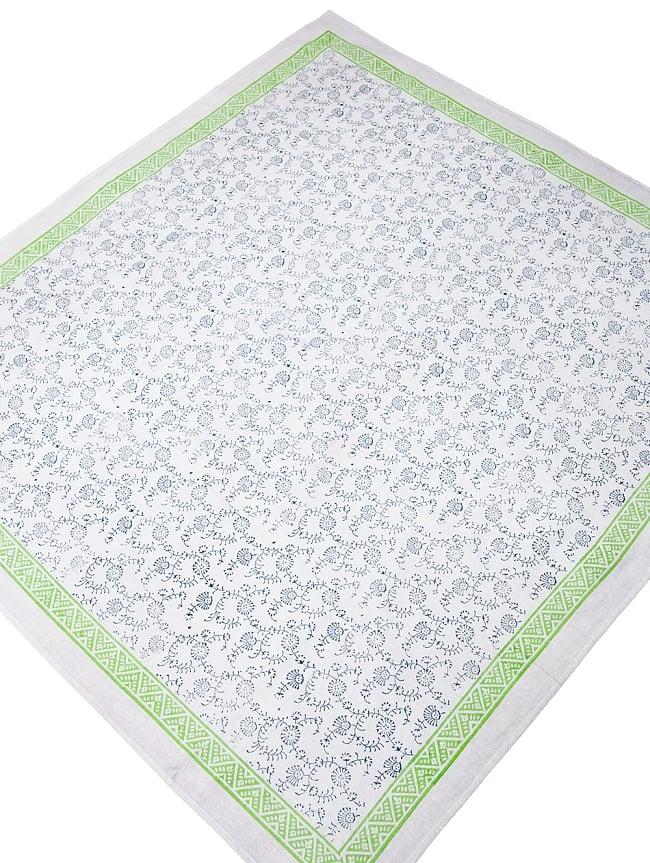 [約110cm x 約104cm]木版染め インド綿テーブルクロス  - 唐草の写真2 -