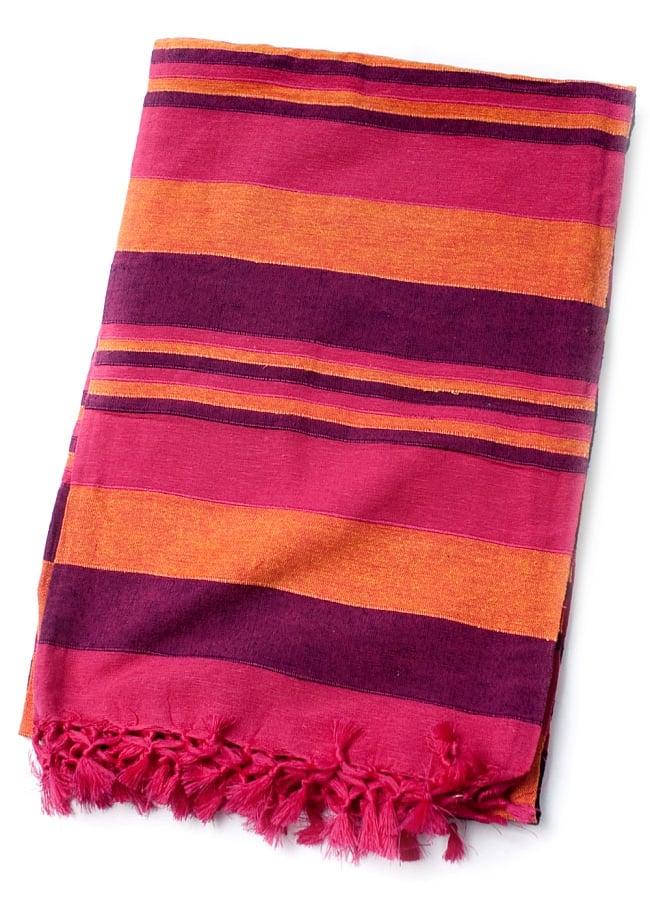 〔260cm×215cm〕カディコットン風マルチクロス - 紫・オレンジ・ピンク系の写真2 - 色違いの布を広げてみたところです。以下の写真は、色違いの同ジャンル品の物となります。
