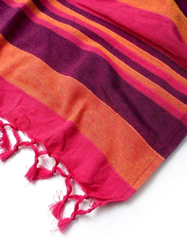 〔260cm×215cm〕カディコットン風マルチクロス - 紫・オレンジ・ピンク系の写真4 - 縁の部分の拡大写真です